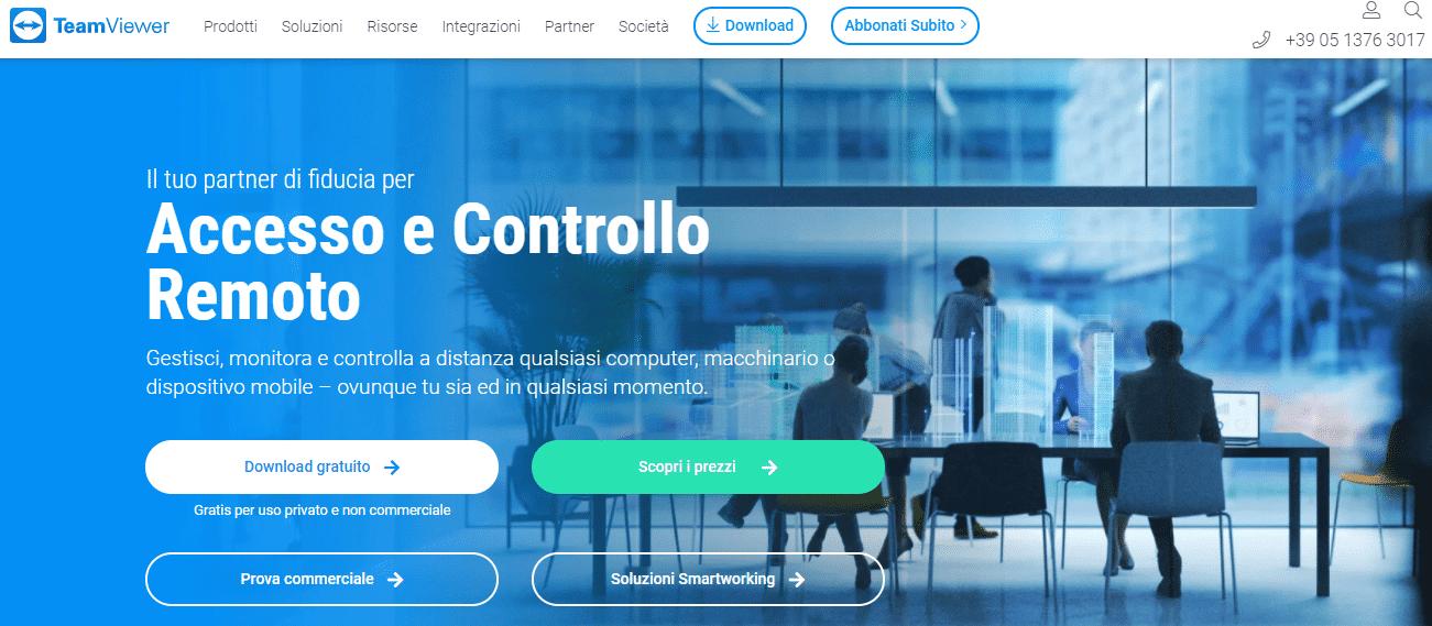 Immagine della home page del sito teamviewer.cim